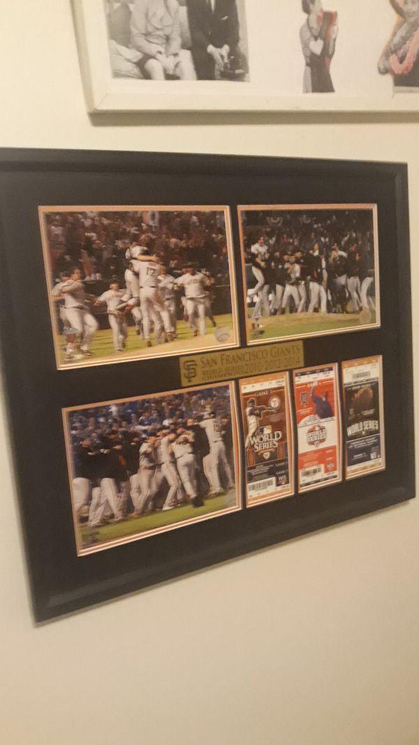 Giants three year world championships tickets memorabilia wall frame