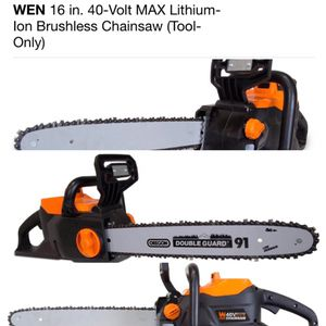 """WEN 16"""" 40-VOLT MAX LITIUM-ION BRUSHLESS CHAINSAW for Sale in Monroe Township, NJ"""