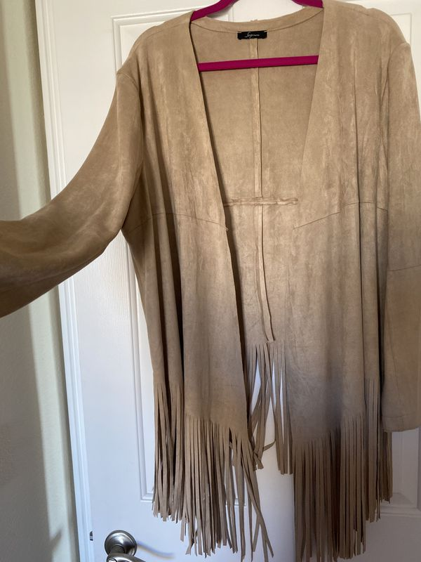 From Nordstrom, Soprano gorgeous fringe, asymmetric faux suede in natural, fringes on bottom, new and unworn, size