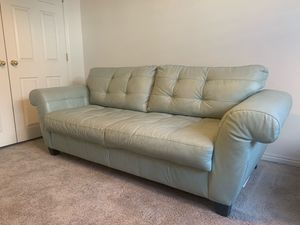Light blue leather couch & chair for Sale in Salt Lake City, UT