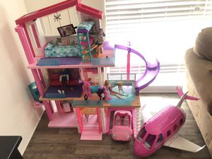 Barbie House with furniture, Barbie dolls, Barbie furniture, Barbie car, Barbie horse, and Barbie airplane for Sale in Santa Ana, CA