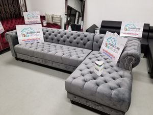 New Grey Velvet Glam Sofa Sectional Couch - Financing Available for Sale in Anaheim, CA