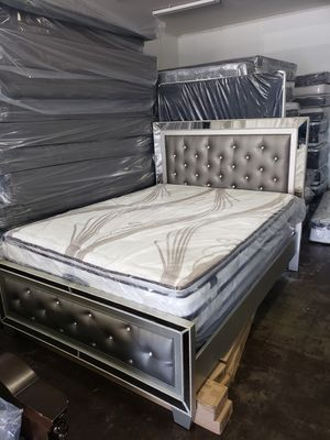 BRAND NEW BED FRAME QUEEN IN BOX WITH MATTRESS EURO-PILLOW TOP AND BOX SPRING INCLUDED $450 for Sale in Compton, CA