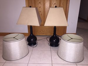 2 lamps with 2 sets of lamp shades for Sale in Bloomington, IL