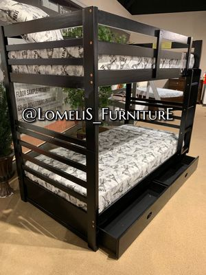 TWIN/TWIN BUNK BEDS W ORTHOPEDIC MATTRESS INCLUDED for Sale in Montebello, CA