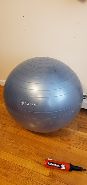Used, Gaiam Yoga Ball (52cm) + Champion Yoga Ball (52cm) + Gaiam Sage Yoga Cover + Pump for Sale for sale  Queens, NY