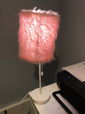 Beautiful fluffy pink lamp for Sale in Rockville, MD