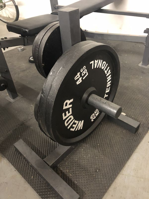 Weight Set Bench Lift Dumbbells Olympic Free Weights Barbell