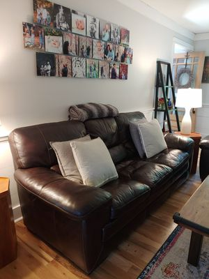 Real Brown Leather Couch with loveseat for Sale in Raleigh, NC