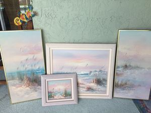 Artwork Framed Oil Painting Set on Canvas Beach, Lighthouse, Ocean 4 Piece Signed Set for Sale in Port St. Lucie, FL