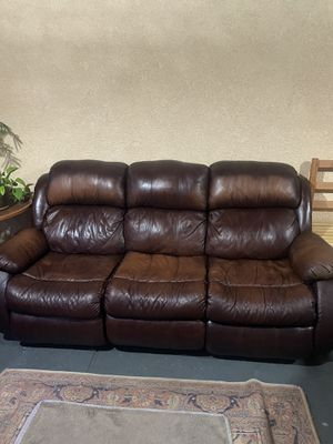 Two leather couches , used in good condition and reclinable. 400 OBO for Sale in San Leandro, CA