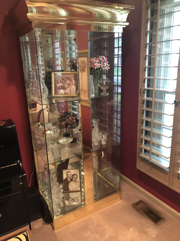 Gold colored Glass Curio - Two of them