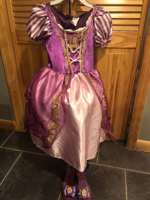 Rapunzel dress size 4-6x and matching shoes for Sale in Nutley, NJ