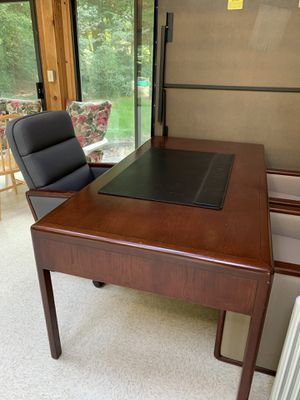 Rare solid wood office furniture. Table, office chairs, storage for Sale in Bellevue, WA