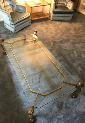 Vintage glass coffee table with gold metal frame. for Sale in Garden Grove, CA