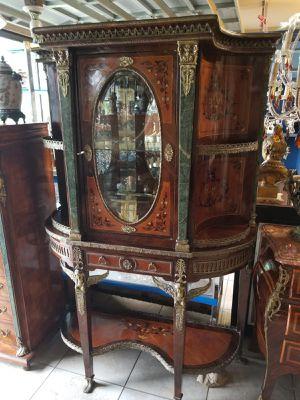 Antique unique curio cabinet furniture w bronze and marble finish for Sale in Tampa, FL