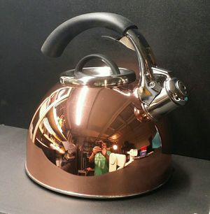 Copper Tea Kettle Pot on Stainless Steel Whistler for Sale in Laguna Niguel, CA