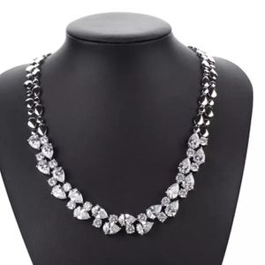 New beautiful large faux-diamond White gold necklace and earrings set for Sale in Troy, MI