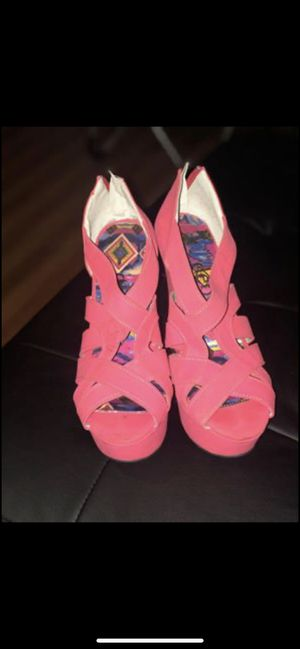 Women's hot pink wedges size 9 for Sale in Brockton, MA
