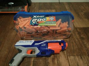 nerf elite gun with a box full of darts for Sale in Bellevue, WA