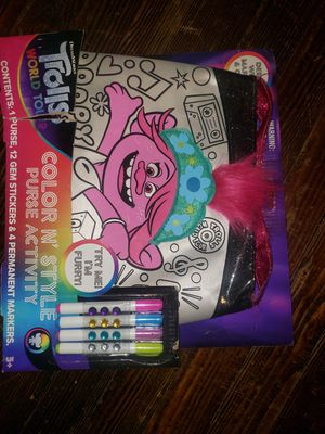 Trolls world tour color your own bag for Sale in Shelbyville, IN