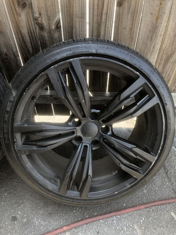 Black 20 inch Rims and Tires (5x120 lug pattern) Staggered