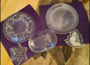 5 piece clear glass Holiday decor or serving pieces, all new, great for gifts too, porch pickup Mt Laurel for Sale in Mount Laurel Township, NJ