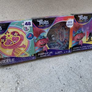 Trolls World Tour 3 Game Bundle Pack - Puzzle, Popper Game And Jumbo Playing Cards - Brand New - Fun Kids Games B for Sale in Fort Lauderdale, FL