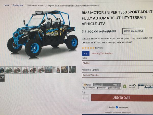 BMS Motor Sniper T350 Sport Automatic UTV(Call or text Andy at {contact  info removed}) for Sale in Wildomar, CA - OfferUp