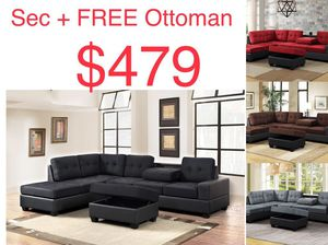 Sectional sofa with free ottoman ez financing for Sale in Houston, TX