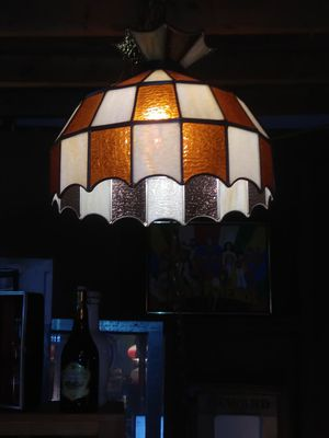 """13"""" Vintage Tiffany Style Orange/White Stained Glass Bar/Lounge Hanging Light for Sale in St. Louis, MO"""