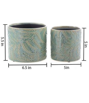 Ceramic Planters Garden Flower Pot 6.5 and 5.5 Inch Set of 2, Indoor and Outdoor, Modern Plant Containers(Green,Leaf Pattern Style) for Sale in Monterey Park, CA