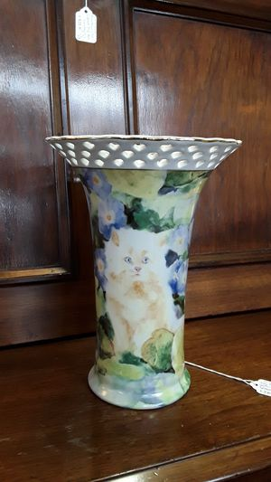 Judy Buswell fluffy yellow cat in flowers vase for Sale in Shelton, WA