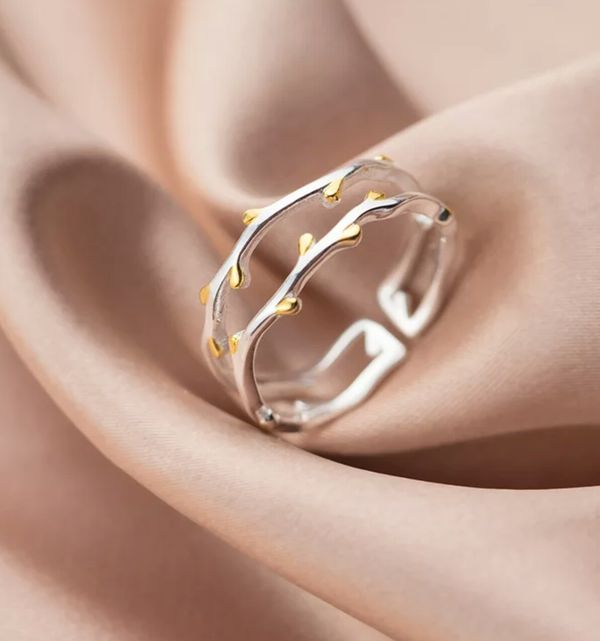 Authentic 925 Sterling Silver Twisted Tree Leaves Ring