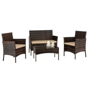 4PC Outdoor Patio Lawn Sofa Set Rattan Wicker Furniture Table Cushion Brown for Sale in New York, NY