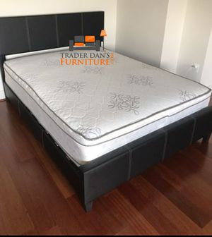 Brand New Queen Size Leather Platform Bed Frame + Pillowtop Mattress for Sale in Silver Spring, MD