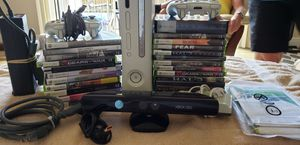 xbox 360 with kinect 24 games, 2 controllers for Sale in Tampa, FL