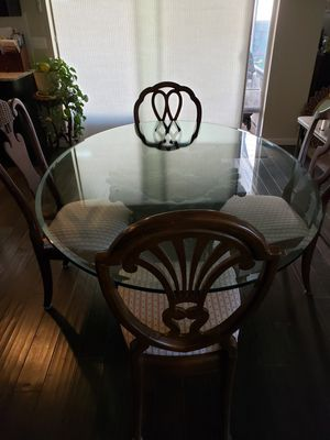 Glass table, pedestal and 4 chairs for Sale in Wilsonville, OR