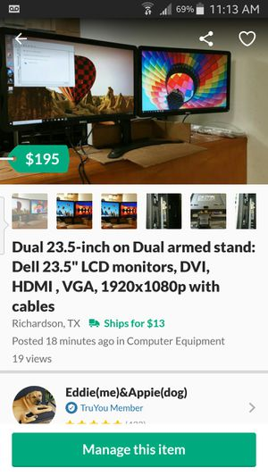 """Dual 23.5-inch on Dual armed stand: Dell 23.5"""" LCD monitors, DVI, HDMI , VGA, 1920x1080p with cables for Sale in Richardson, TX"""