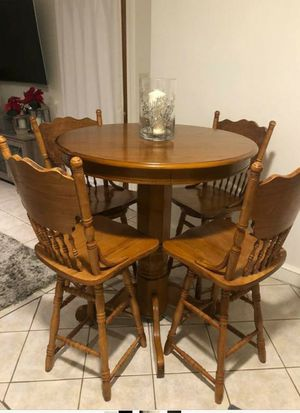 Pub table set/// 4 chairs wood for Sale in Revere, MA