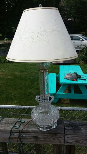 Antique Cut Glass Vase Lamp with pierced shade for Sale in Glenolden, PA