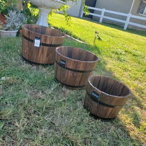 Brand New Apple Barrels Trio Planters for Sale in Fontana, CA