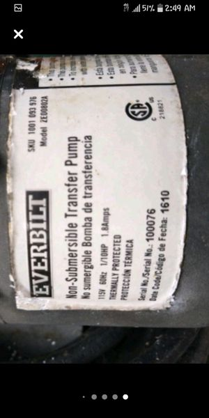 Everbilt Non-Submersible Transfer Pump Model ZE00802A for Sale in Biloxi, MS