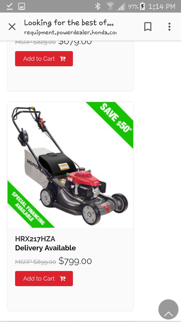 honda commercial mower hrx217hza for sale in olympia  wa