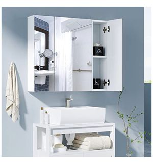 HOMFA Bathroom Wall Mirror Cabinet, 27.6 inches Multipurpose Storage Organizer Medicine Cabinet Space Saver with 3 Doors Adjustable Shelf Kitchen Cup for Sale in La Mirada, CA