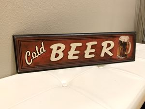 Vintage looking cold beer wood sign for man cave, she shed or kitchen bar for Sale in Kent, WA