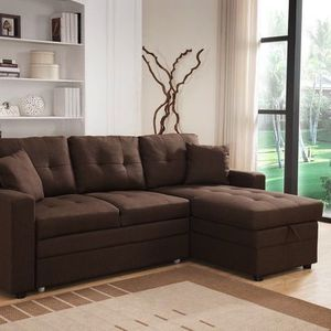 Brand new Linen Fabric pull out Sectional Sofa with (Reversible) for Sale in Covina, CA