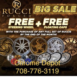 Rucci Wheels Rims Tires Floating Caps Matching Steering Wheel for Sale in Bolingbrook, IL