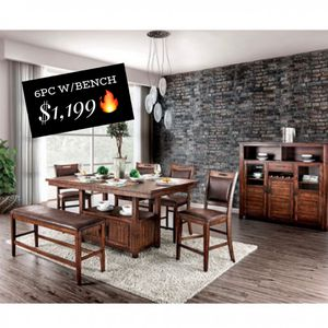 🔥👉🏻RUSTIC 6PC COUNTER HEIGHT WITH BENCH...DISTRESSED DARK OAK...STORAGE BASE‼️😃 for Sale in Rancho Cucamonga, CA