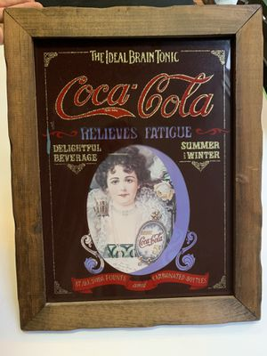 VNTG Coca Cola Poster Wooden Frame Wall Art The Ideal Brain Tonic framed 19x15 for Sale in Chicago, IL